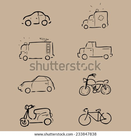 Car and transportation drawing icons - stock vector
