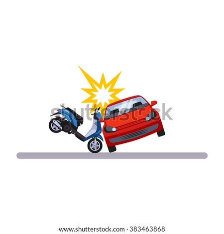 Car and Transportation Issue with a Moped. Flat Vector Illustration - stock vector