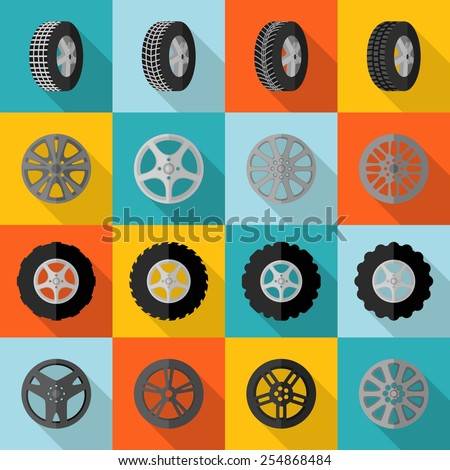 Car and truck tire service installation icon flat set isolated vector illustration - stock vector