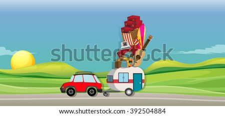 Car and wagon full of luggages on the road illustration - stock vector