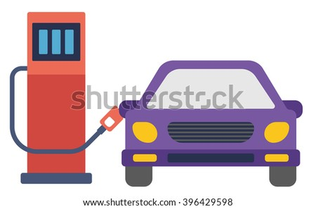 Car at gas station being filled with fuel. - stock vector