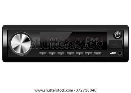 Car audio. Media receiver. Vector illustration isolated on white background - stock vector