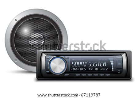 Car audio with speaker. Vector illustration - stock vector