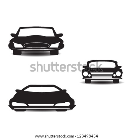 car, auto front view pictogram set vector - stock vector