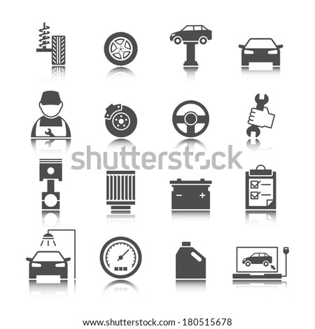 Car auto service icons set of mechanic maintenance engine repair and garage isolated vector illustration - stock vector