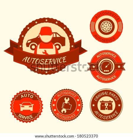 Car auto service labels badges emblems set isolated vector illustration - stock vector