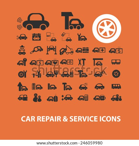 car, auto, service, station icons, signs, illustrations set, vector - stock vector
