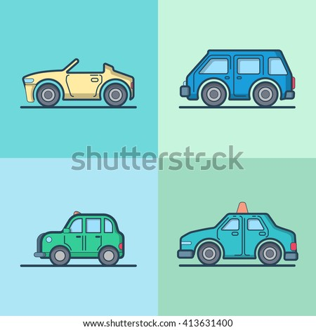 Car automobile convertible cabriolet taxi cab mini bus sedan hatchback cool transport set. Linear stroke outline flat style vector icons. Color outlined icon collection. - stock vector