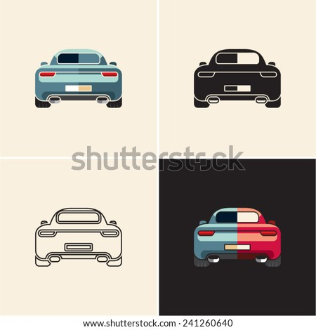 Car back view. Car back icon. - stock vector