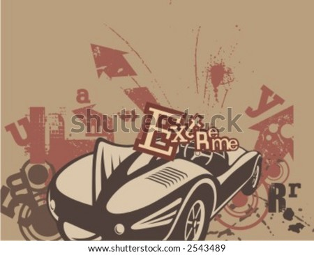 Car Backgrounds Series in Grunge Style. Check my portfolio for much more of this series as well as thousands of similar and other great vector items. - stock vector