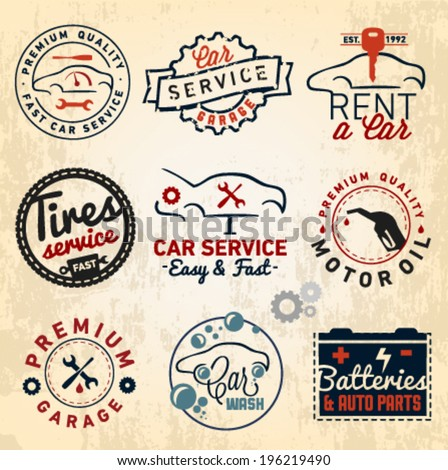 Car Badges Labels and Symbols in Vintage Style - stock vector