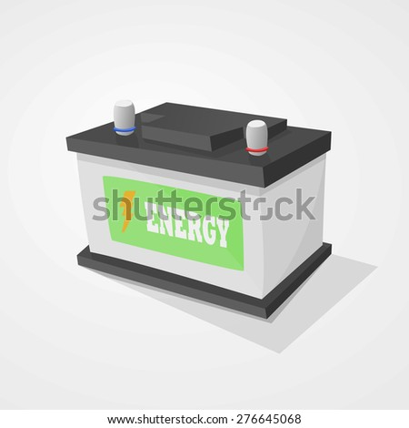 Car battery black and gray on light gray background.