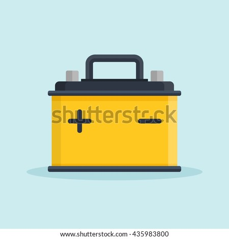 Car Battery icon. Accumulator battery energy power and electricity accumulator battery. Battery accumulator car auto parts electrical supply power in flat style. - stock vector