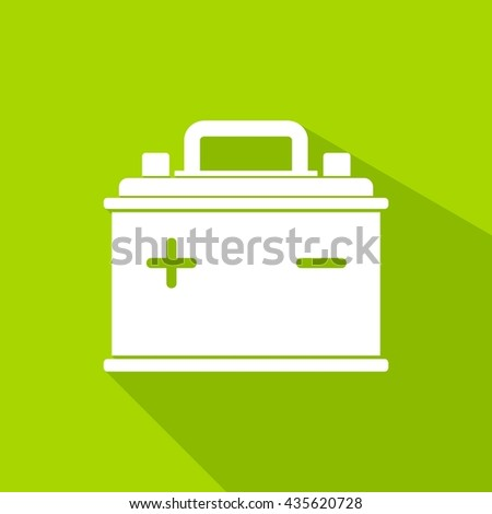 Car Battery icon isolated on green background. Accumulator battery energy power and electricity accumulator battery. Battery accumulator icon car auto parts electrical supply power in flat style. - stock vector