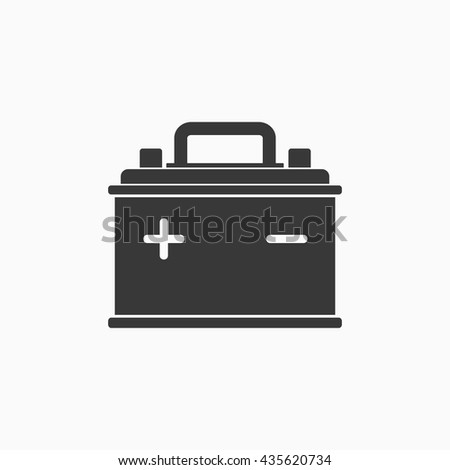 Car Battery icon isolated on white background. Accumulator battery energy power and electricity accumulator battery. Battery accumulator icon car auto parts electrical supply power in flat style. - stock vector