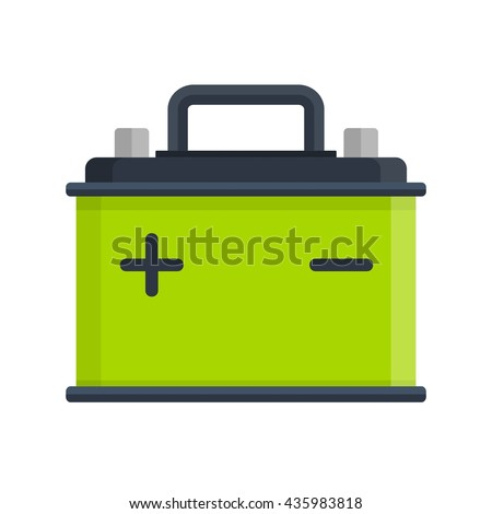 Car Battery icon isolated on white background. Accumulator battery energy power and electricity accumulator battery. Battery accumulator car auto parts electrical supply power in flat style. - stock vector