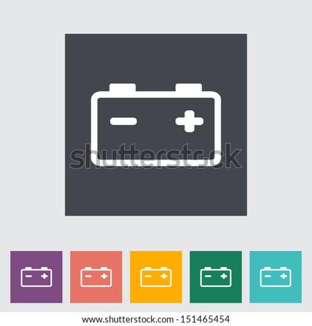 Car battery. Single flat icon. Vector illustration. - stock vector