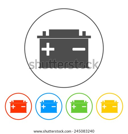 car battery vector icon. Flat vector EPS - stock vector