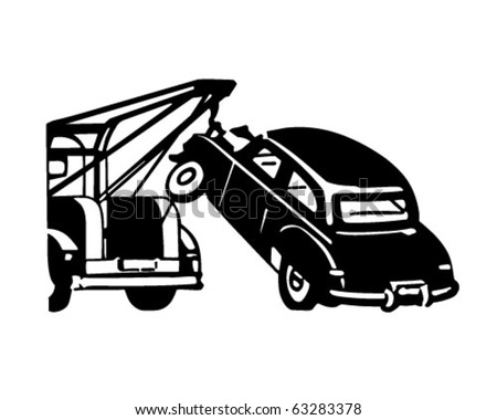 Car Being Towed - Retro Clipart Illustration - stock vector