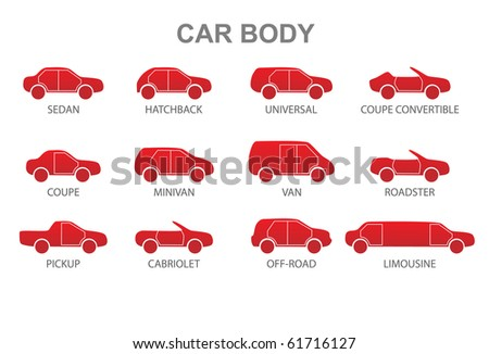 Car body icons. Vector illustration. - stock vector