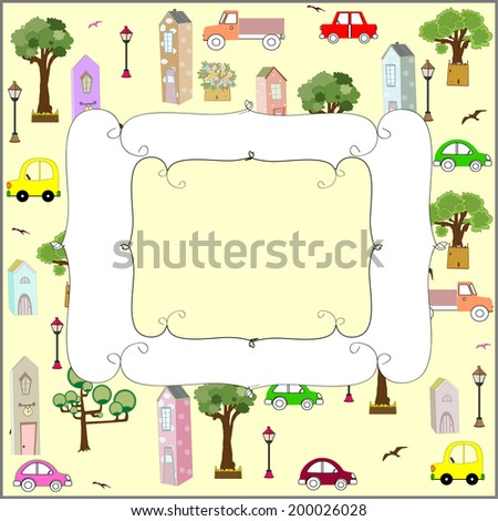 car card vector illustration art cute frame