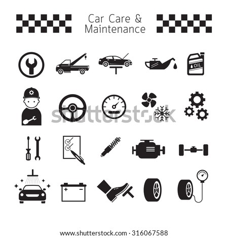 Car Care and Maintenance Objects icons Set, Black and white, Silhouette, Vehicle Mechanical, Garage Service - stock vector