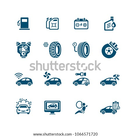 Car care, tuning, repair and more service icons