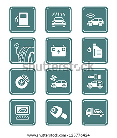 Car care, tuning, repair, and more service icons in teal - stock vector