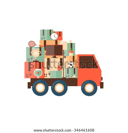 Car carries things. Moving flat design vector illustration.