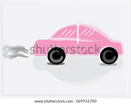 Car cartoon sweets pink background vector.