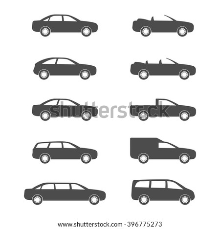 Car category. Set auto body. Icon transport.