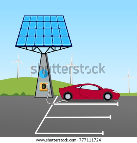 car charging in front of the solar panel