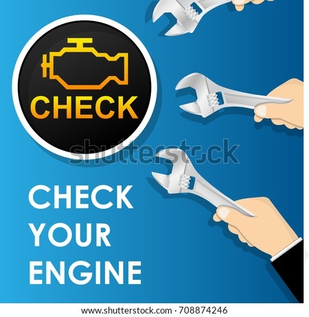 Car Check Engine Light Indicator Wrench Stock Vector Royalty Free