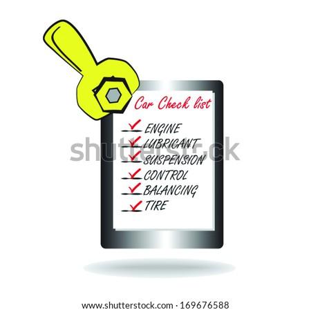 car check list - stock vector