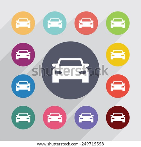 car circle, flat icons set. Round colorful buttons  - stock vector