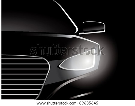 Car close up vector - stock vector