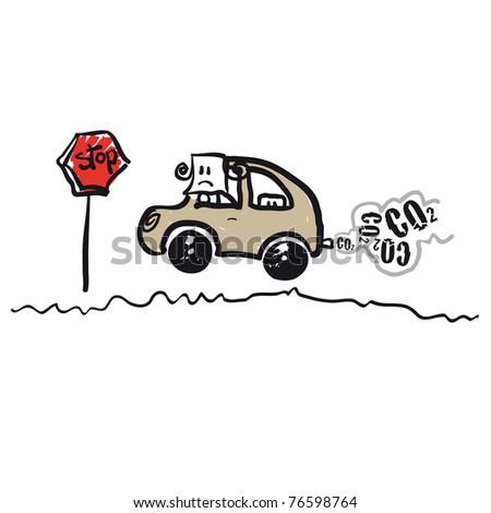 Car CO2 STOP - conceptual warning sign - global warning - stock vector
