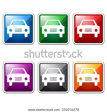 Car Colorful Vector Icon Button