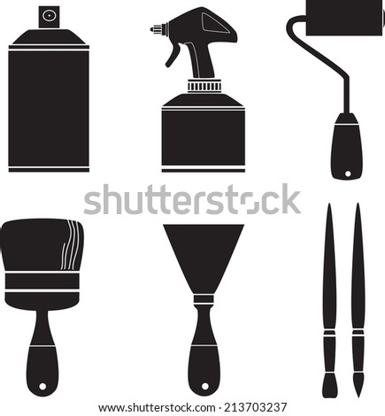 Car coloring paint brush , icon set