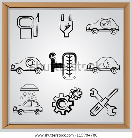 Car concept,icon set,Vector