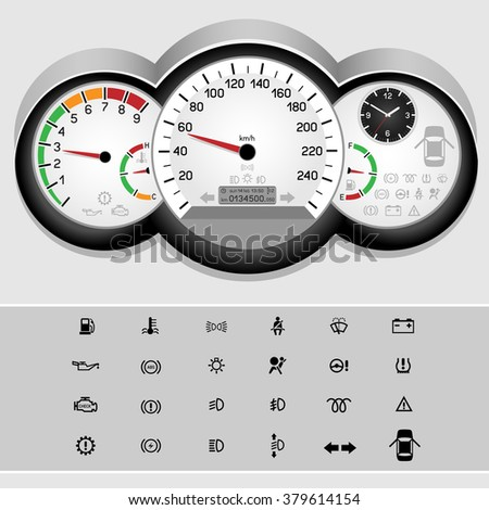 Car control panel interface on light background. Car dashboard icons set. Collection car panel symbol. Speedometer and rev counter shows the speed - stock vector
