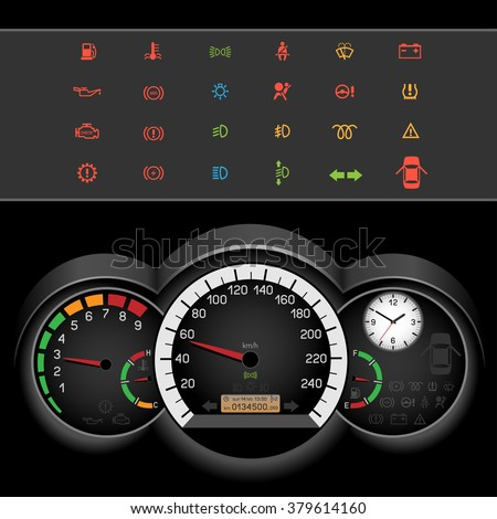 Car control panel night interface on black background. Car dashboard icons set. Collection car panel symbol. Speedometer and rev counter shows the speed - stock vector