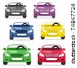 car convertible in different colors - stock vector