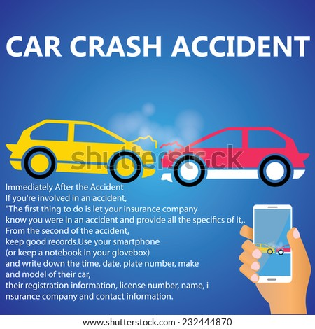 Car crash accident - stock vector