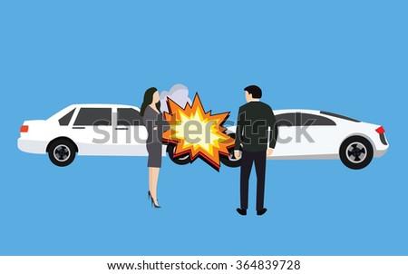 car crash accident collision man woman standing  - stock vector