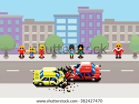 car crash accident on street, pixel art game style retro layers illustration - stock vector