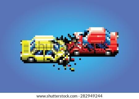car crash accident pixel art game style retro illustration - stock vector