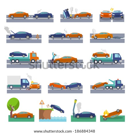 Car crash and accidents icons set with collision fire flood insurance events vector illustration - stock vector