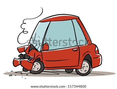 Car crash. cartoon illustration isolated on white backgrund