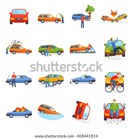 Car crash collision traffic insurance and car crash safety automobile emergency disaster. Car crash emergency disaster speed repair. Auto accident involving car crash city street vector illustration. - stock vector